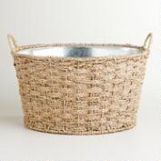 Oval Seagrass Galvanized Party Tub
