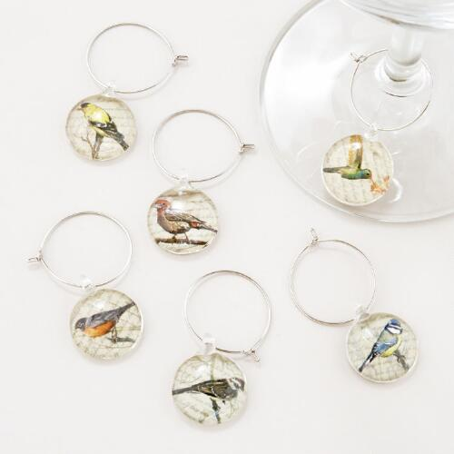 Bird Wine Charms, Set of 6