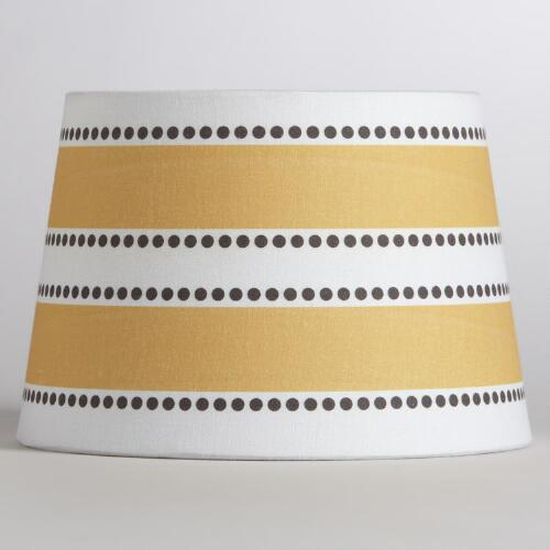 Yellow Stripe & Dot Accent Lamp Shade