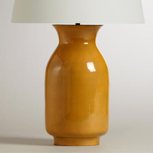 Yellow Patina Jug Table Lamp Base