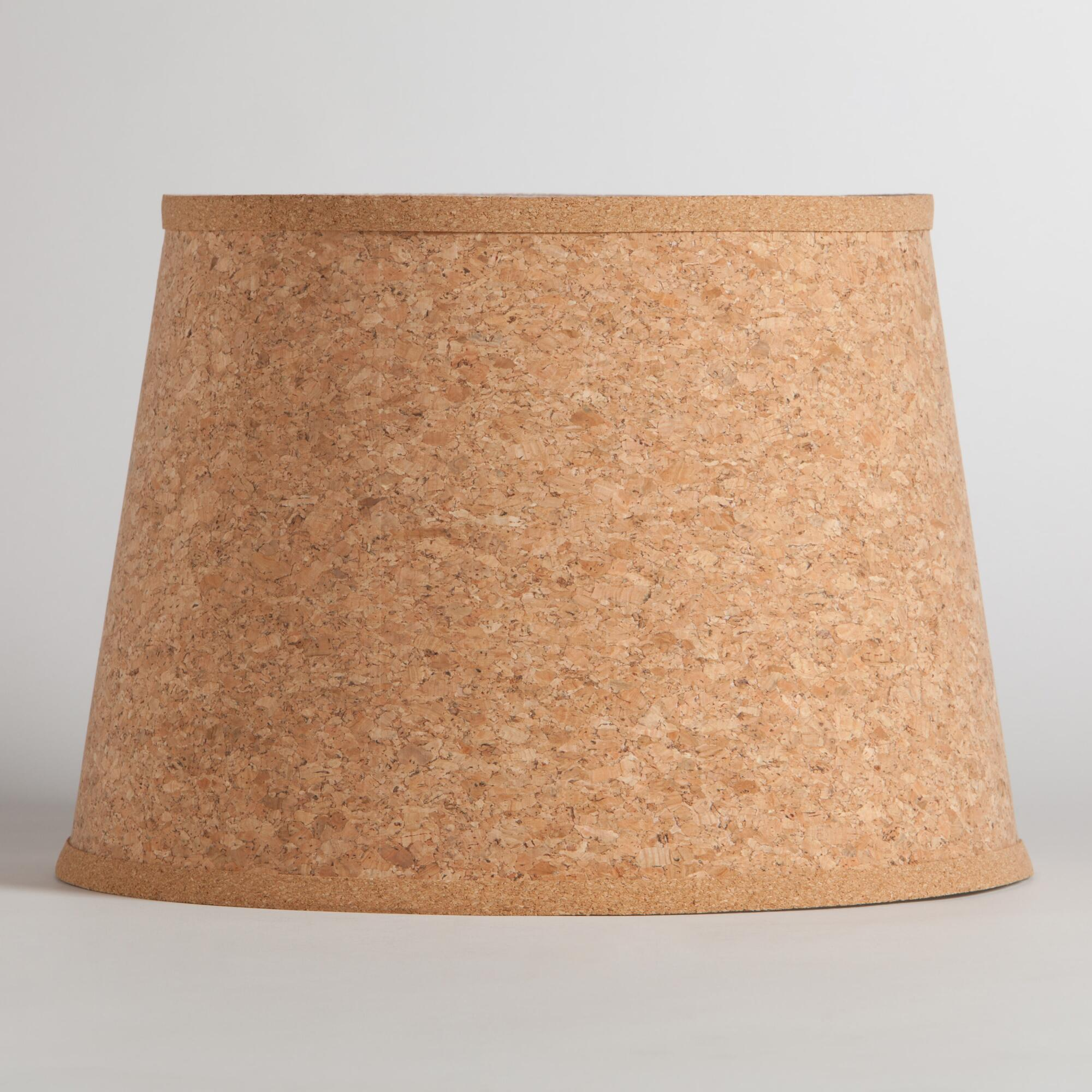 Natural cork table lamp shade world market for Wine cork lampshade