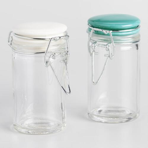Spice Jars with Aqua Ceramic Lids, Set of 6