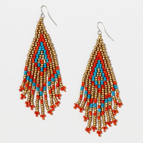 Turquoise, Coral and Gold Chandelier Earrings