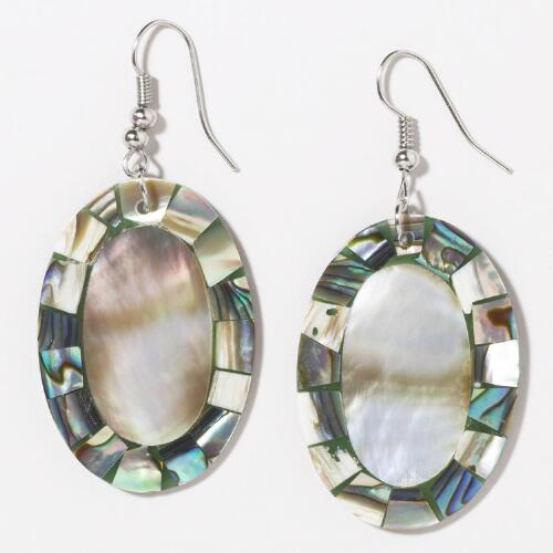 Mother-of-Pearl and Abalone Drop Earrings