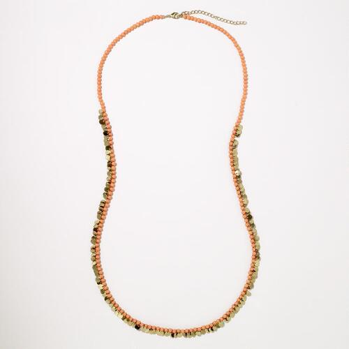 Coral and Gold Disc Strand Necklace