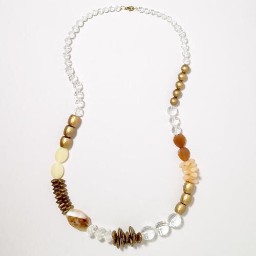 Gold, Blush and Clear Chunky Necklace