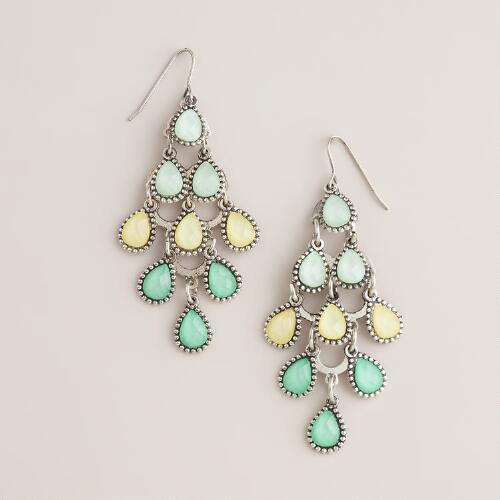 Green and Yellow Tiered Chandelier Earrings