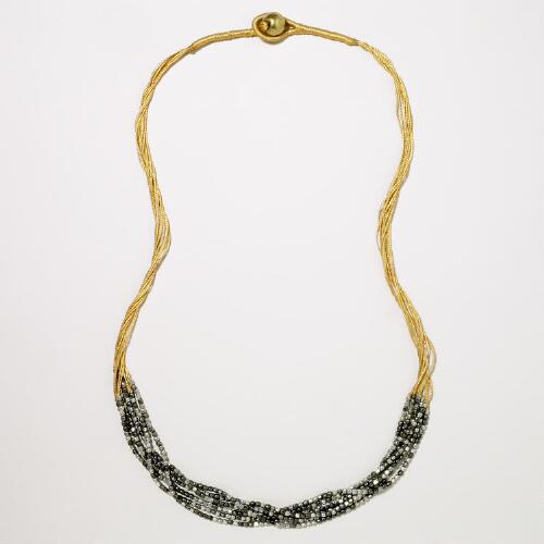 Silver and Gold Beaded Multistrand Necklace