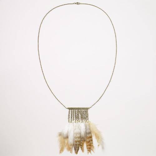 Feather Tassel Chain Necklace