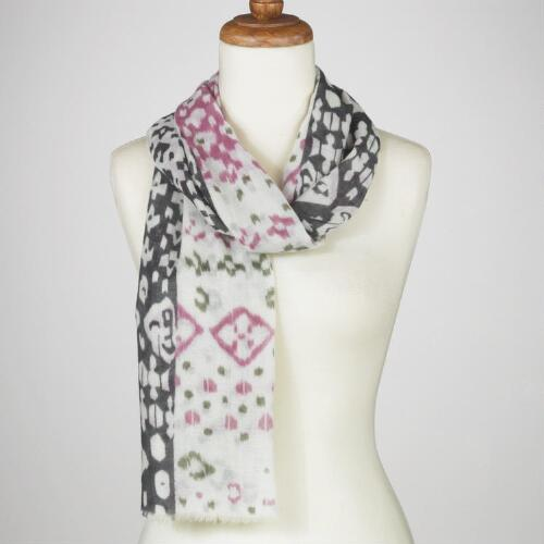 Black and Pink Mixed Ikat Scarf