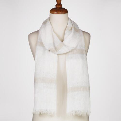 White Striped Linen and Lurex Scarf