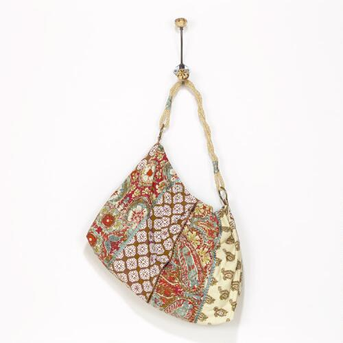 Indian Printed Patchwork Bag with Twist Handle
