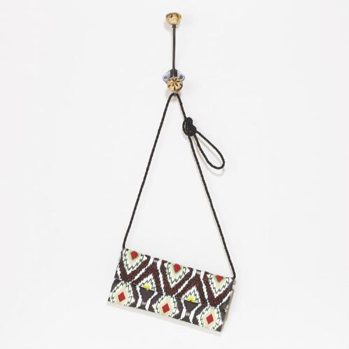 Brown and White Ikat Beaded Bag
