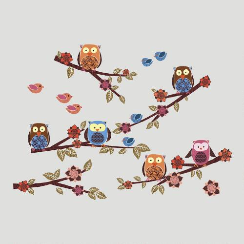 Owls and Branches Wall Decal