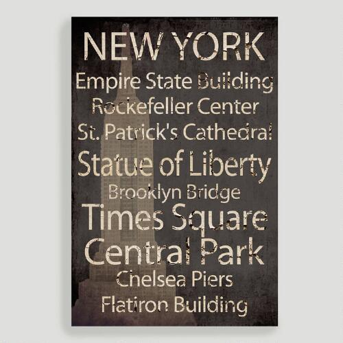 New York Canvas Wall Art Decal