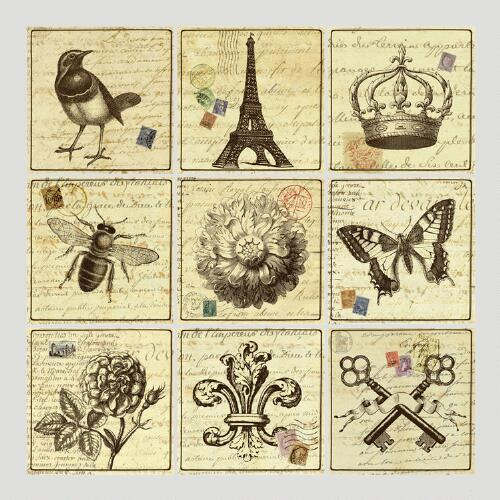 French Postcards Wall Decals