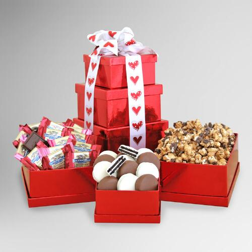 Chocolate Valentine Sweets For Your Sweetie Gift Tower