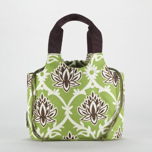 Green Lotus Print Anne Insulated Lunch Bag