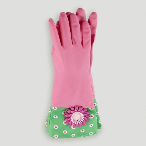 Pink Flower Kitchen Gloves