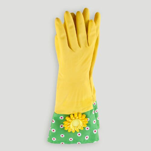 Yellow Flower Kitchen Gloves