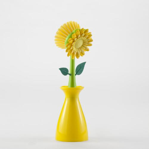 Yellow Flower Pot Kitchen Brush