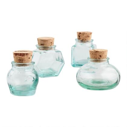 Green Recycled Glass Spice Jars, Set of 4