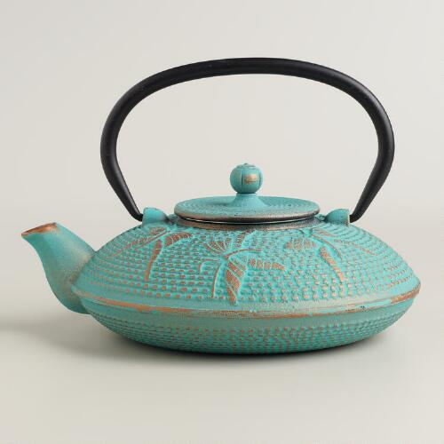 Aqua Butterfly Cast Iron Teapot