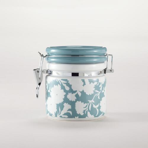 Flower Ceramic Jar with Clamp Lid