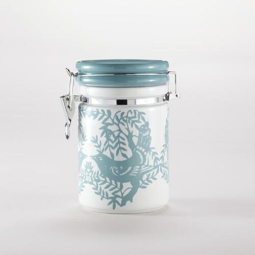 Bird Ceramic Jar with Clamp Lid