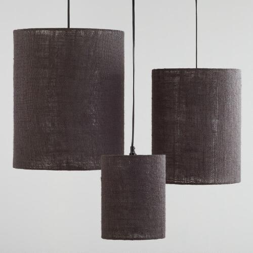 Gray Irving Burlap Lamp Shades, Set of 3