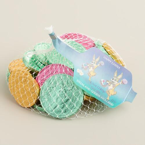 Mesh Bag of Chocolate Easter Coins, Set of 10