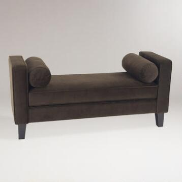 Chocolate Velvet Taylor Bench with Bolsters
