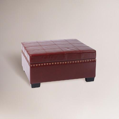 Red Bi-Cast Leather Bowen Storage Ottoman
