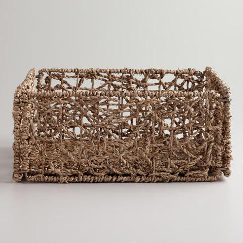 Natural Seagrass Collapsible Baskets