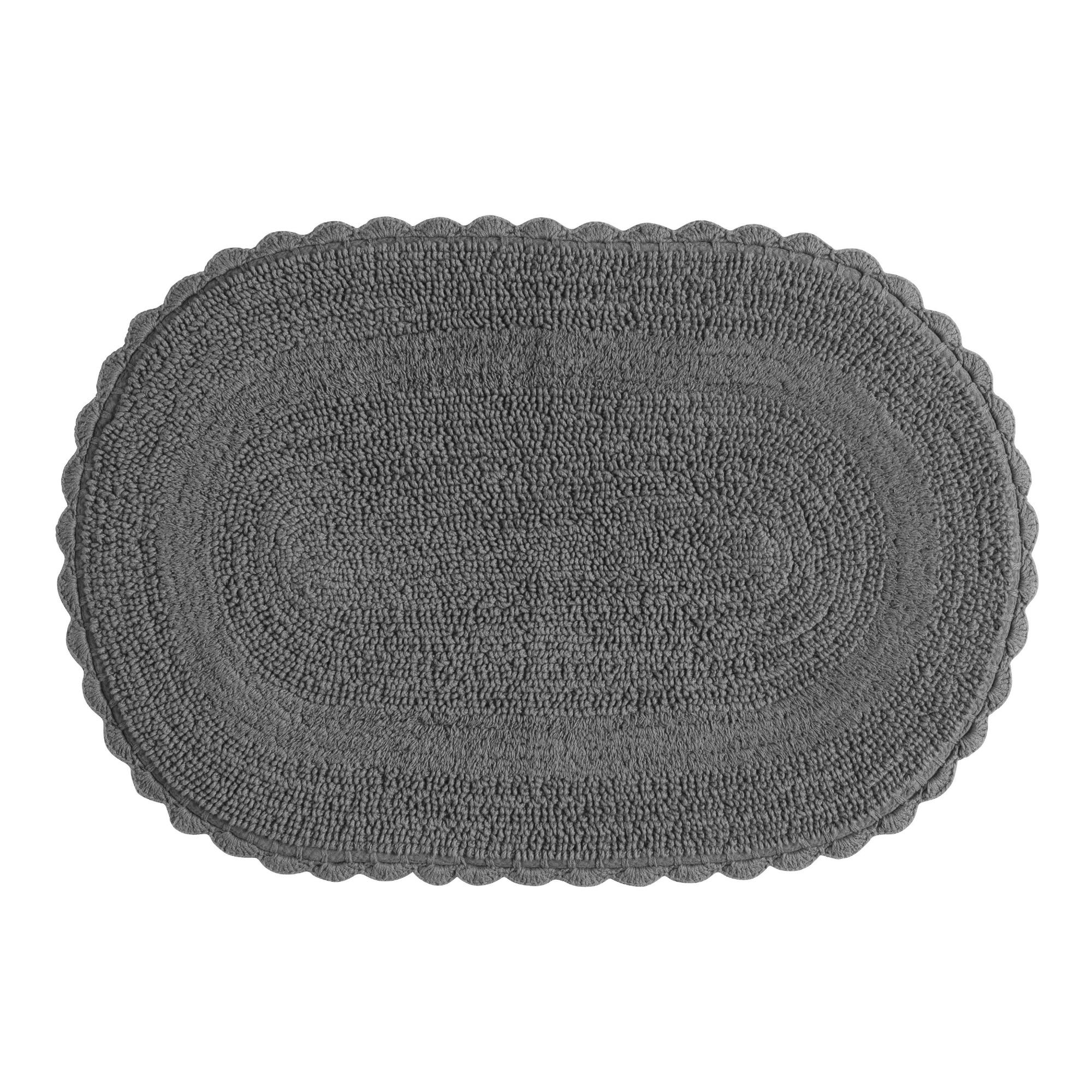 Gray Oval Crochet Bath Mat