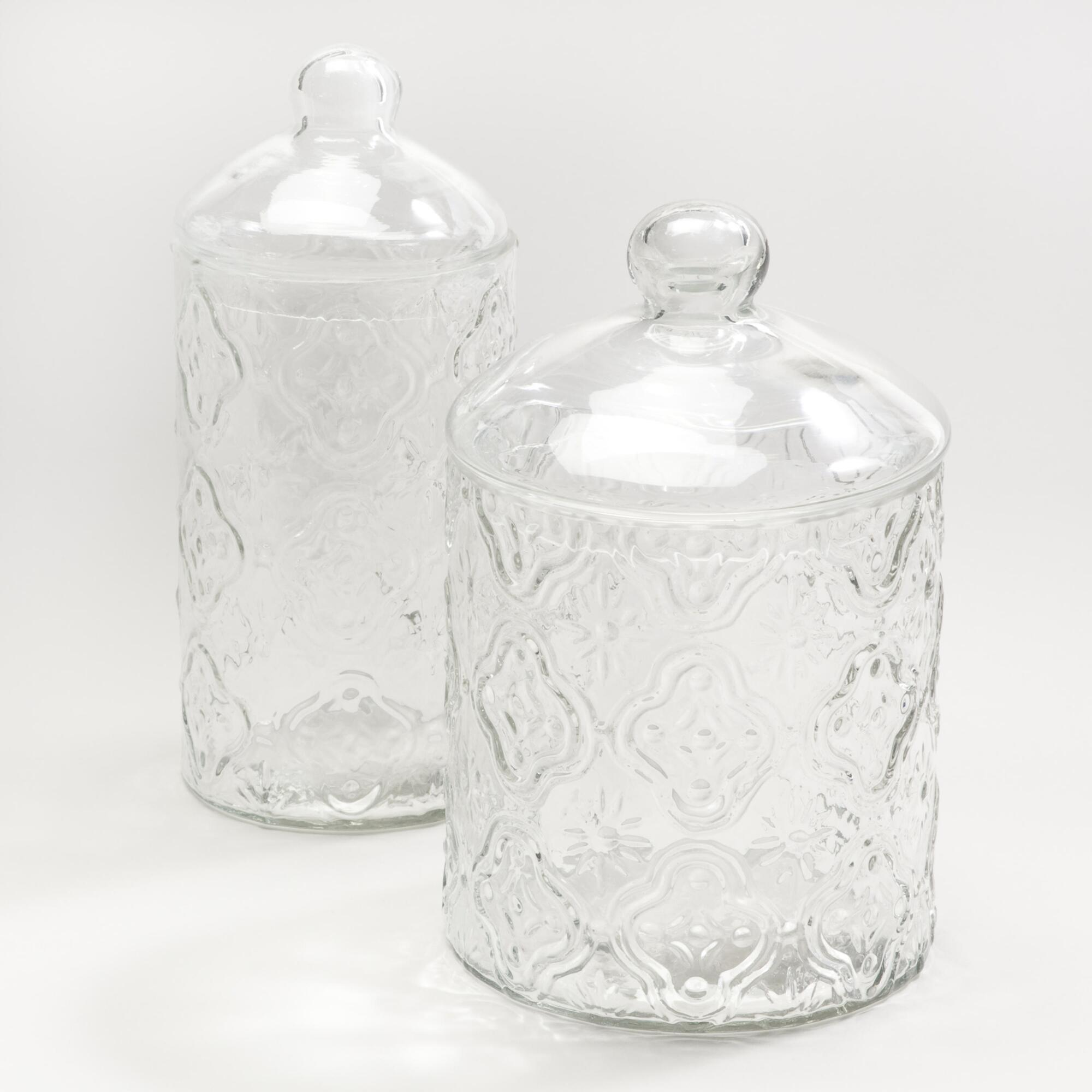 Clear tile glass canisters world market for Clear glass bathroom accessories