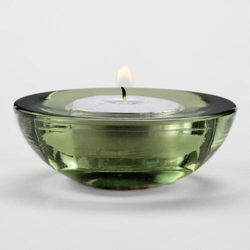 Green Saucer Tealight Candle Holders, Set of 2