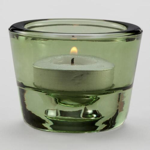 Green Dual Round Tealight Candle Holders, Set of 2