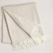 Camel and Ivory Herringbone Throw