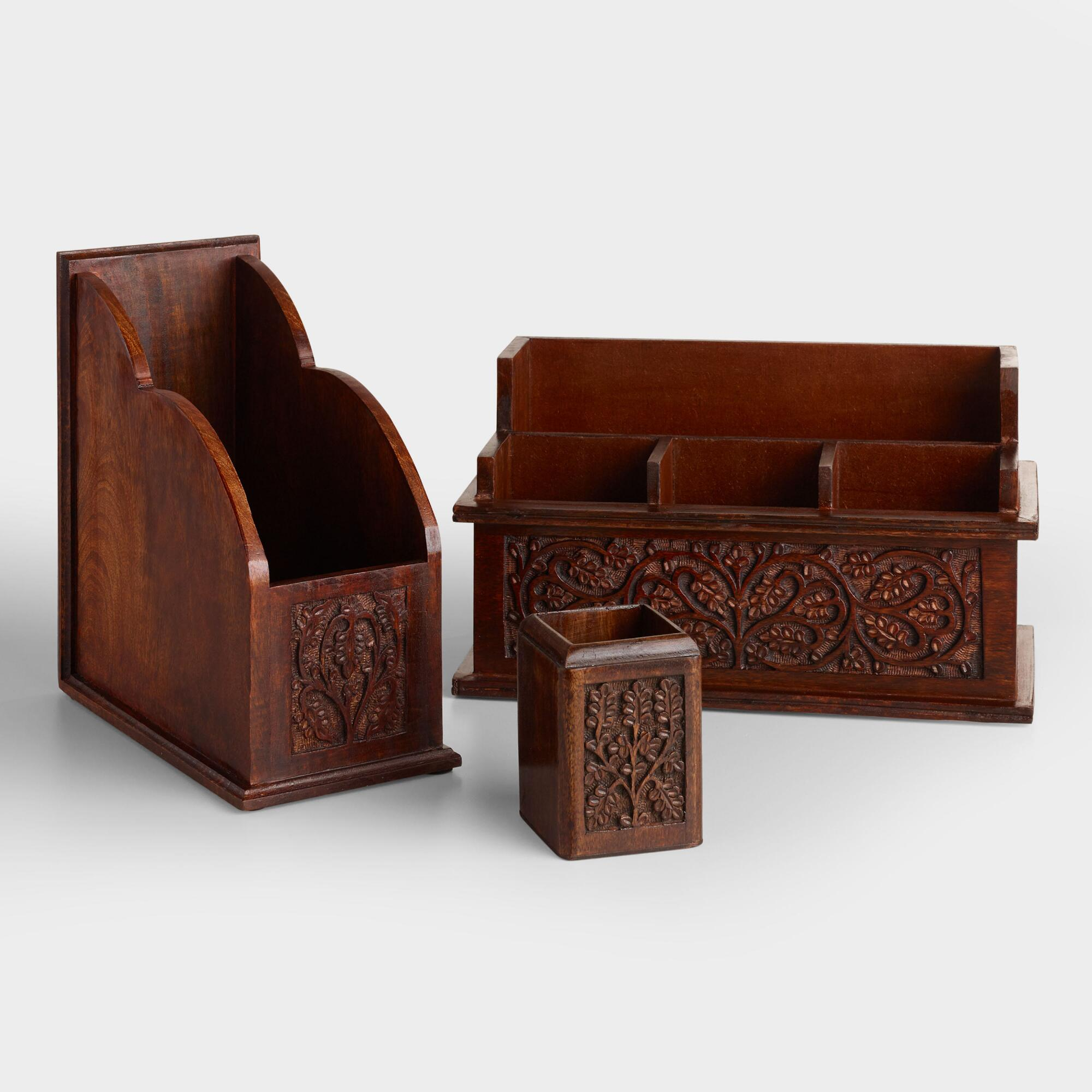 Carved wood desk organizers world market - Wood desk organizer ...
