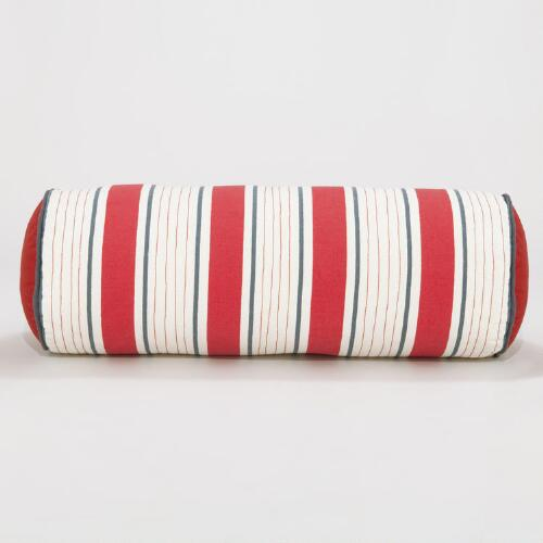 Red, White and Blue Stripe Bolster Throw Pillow