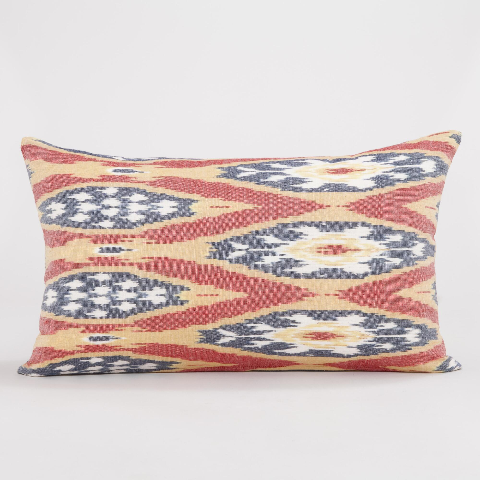 Blue Red Throw Pillow : Red, White, Blue and Gold Ikat Lumbar Throw Pillow World Market