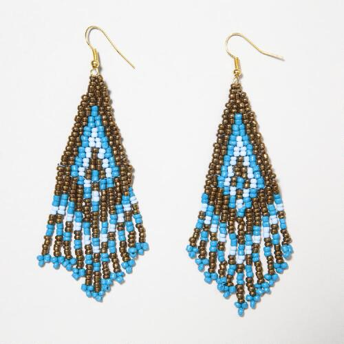 Blue and Gold Seed Bead Chandelier Earrings