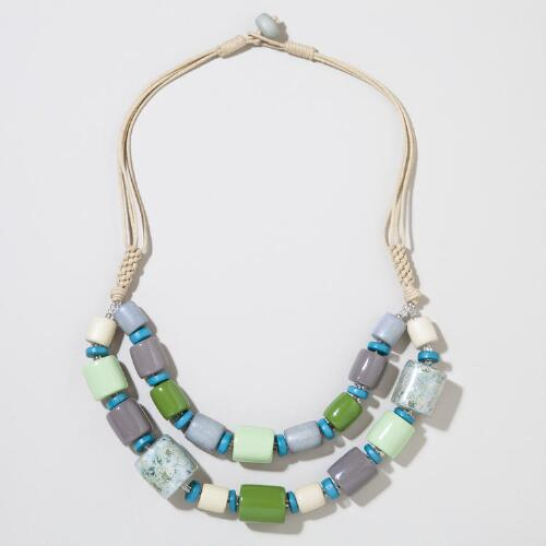 Green and Grey Wood Beaded Necklace