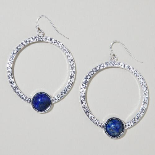Silver Lapis Hoop Earrings