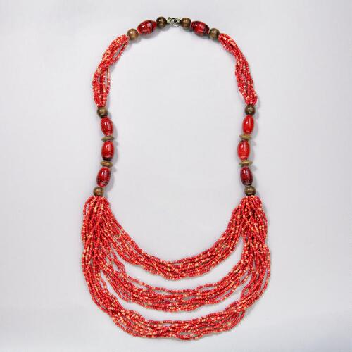 Red Beaded Multistrand Necklace