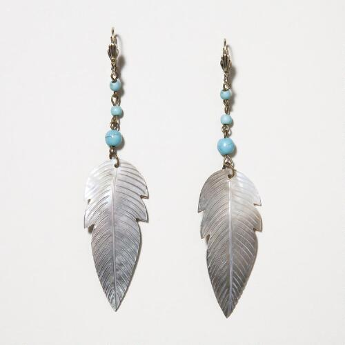 Turquoise and Mother of Pearl Feather Drop Earrings