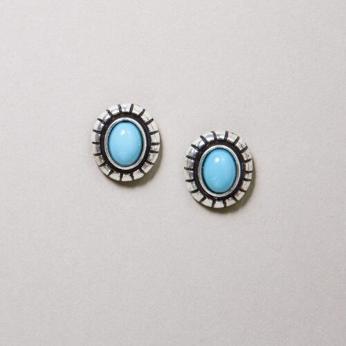 Turquoise and Silver Oval Stud Earrings