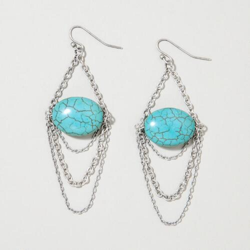 Silver and Magnesite Chain Earrings
