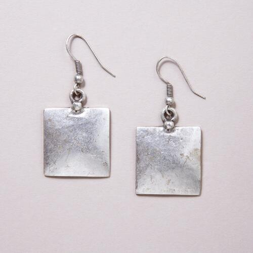Silver Square Drop Earrings